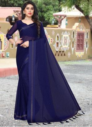 Satin Saree in Navy Blue