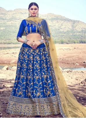 Satin Silk A Line Blue Lehenga Choli