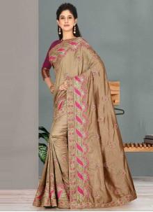 Satin Silk Beige Classic Designer Saree