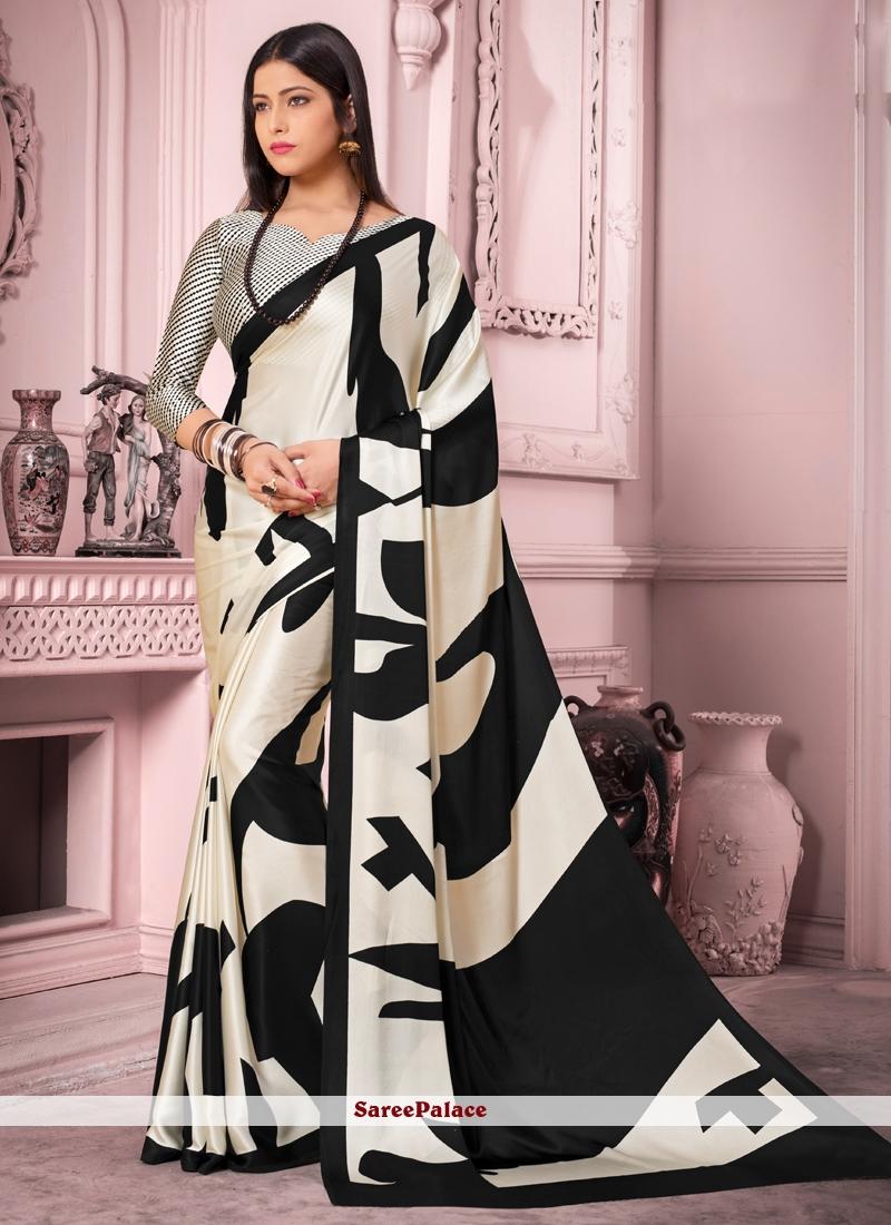 Satin Silk Black and White Casual Saree