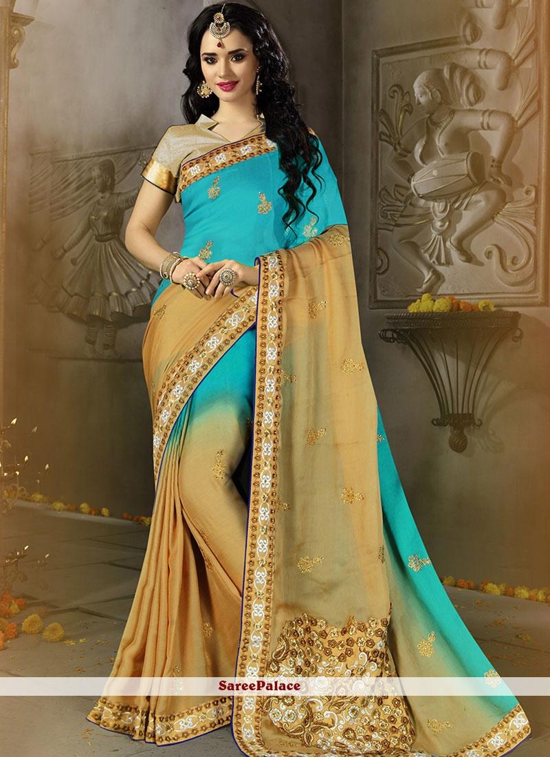 Satin Silk Blue and Cream Shaded Saree