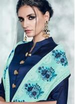 Satin Silk Blue Readymade Anarkali Suit