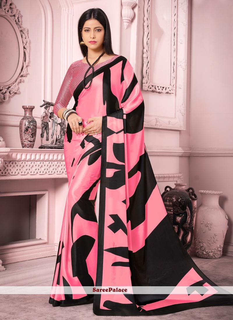 Pink Satin Silk Casual Saree