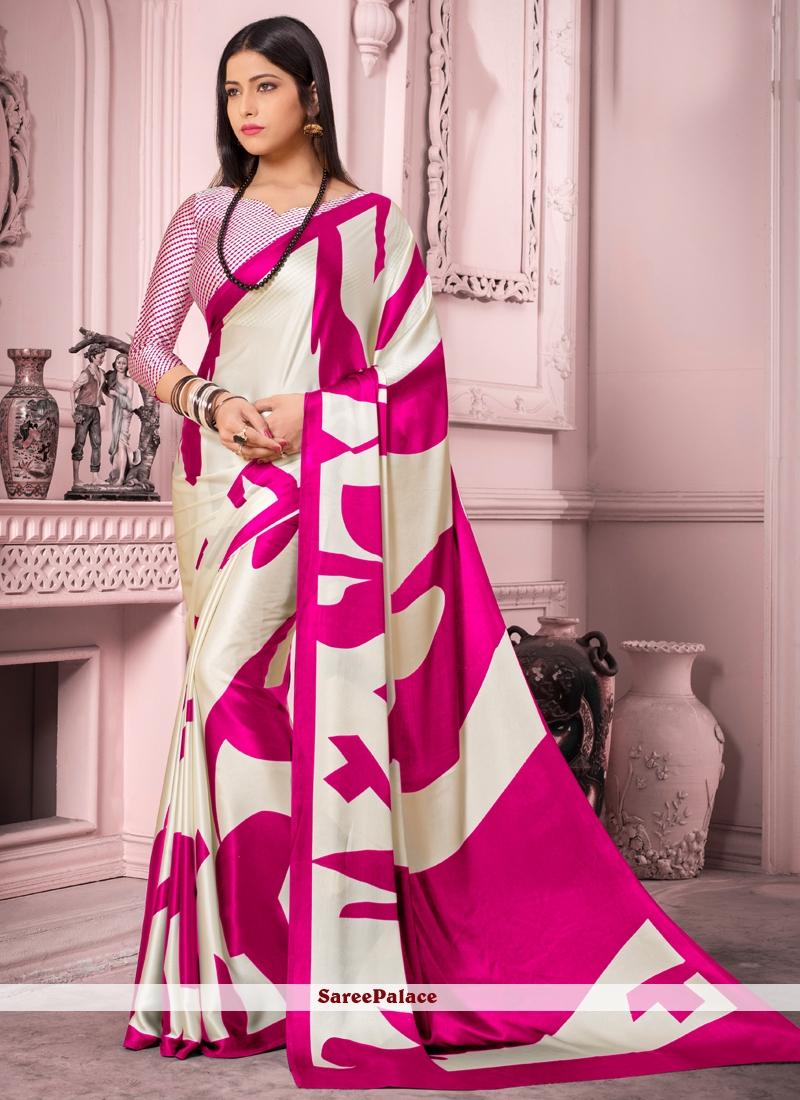 Off White Satin Silk Casual Saree