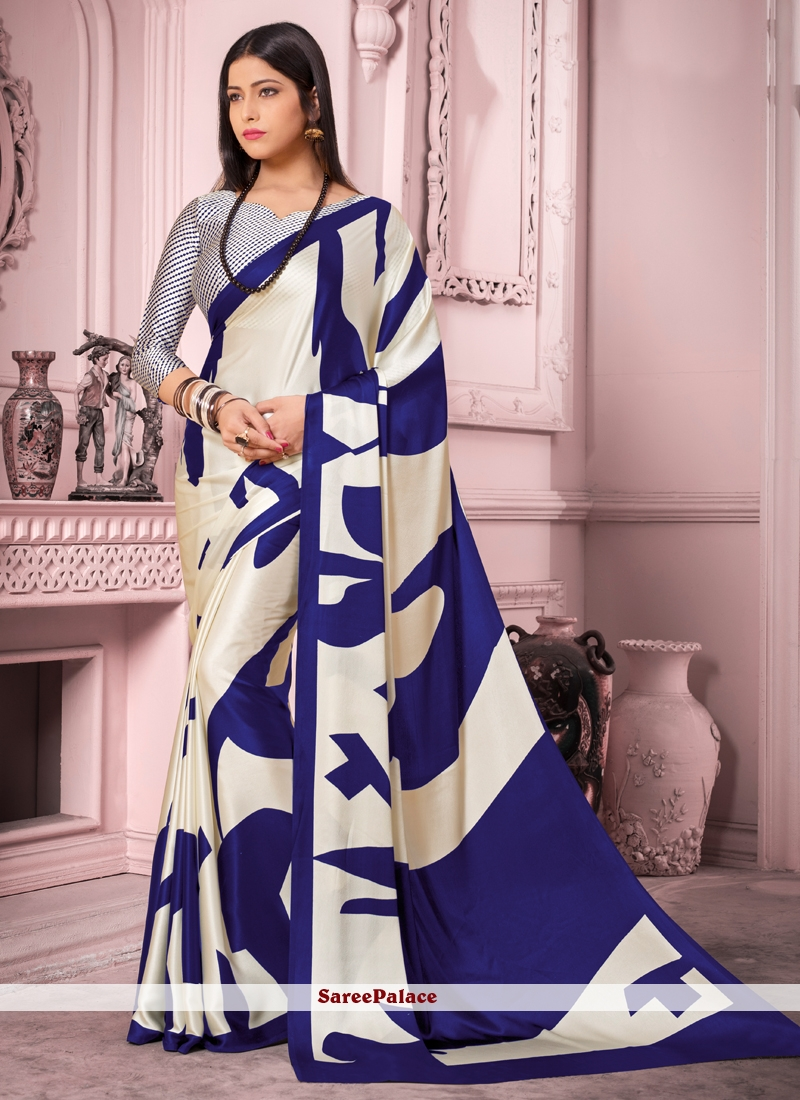 Satin Silk Casual Saree in Blue and White