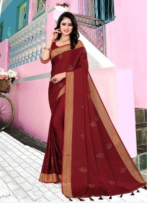 Maroon Satin Silk Ceremonial Contemporary Saree
