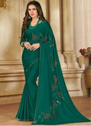 Green Satin Silk Ceremonial Designer Saree