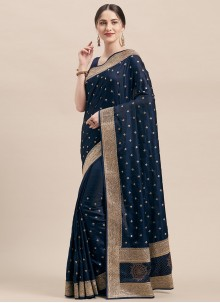 Navy Blue Satin Silk Classic Designer Saree
