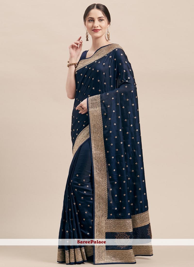 Navy Blue Satin Silk Classic Designer Saree