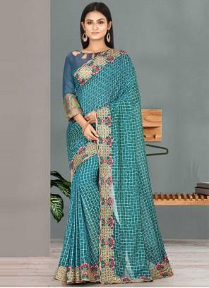 Satin Silk Classic Saree in Blue