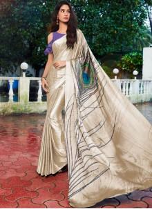 Satin Silk Cream Printed Saree