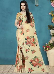 Satin Silk Cream Trendy Saree