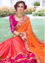 Satin Silk Designer Half N Half Saree in Hot Pink and Orange