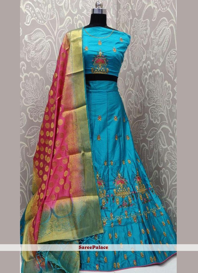 Satin Silk Designer Lehenga Choli in Aqua Blue