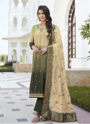 Green Satin Silk Designer Palazzo Salwar Suit
