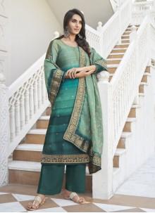 Rama Satin Silk Designer Palazzo Suit