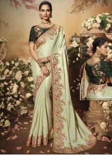Satin Silk Designer Saree in Cream
