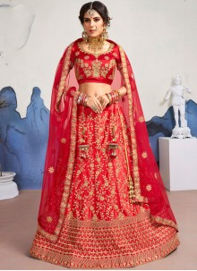 Satin Silk Diamond Red Designer Lehenga Choli