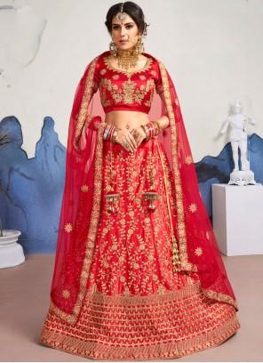 Satin Silk Diamond Red Designer Lehenga Choli