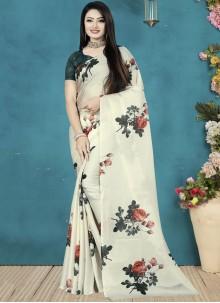 Satin Silk Digital Print Traditional Saree in Off White