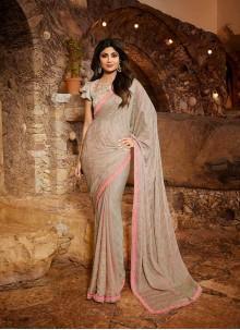 Satin Silk Embroidered Classic Designer Saree in Grey