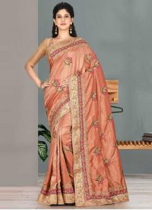 Satin Silk Embroidered Classic Saree