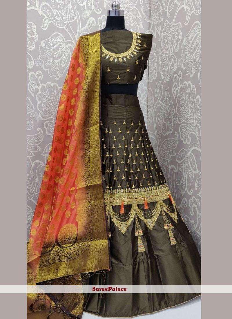 Grey Satin Silk Embroidered Designer Lehenga Choli