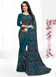 Satin Silk Embroidered Firozi Contemporary Style Saree