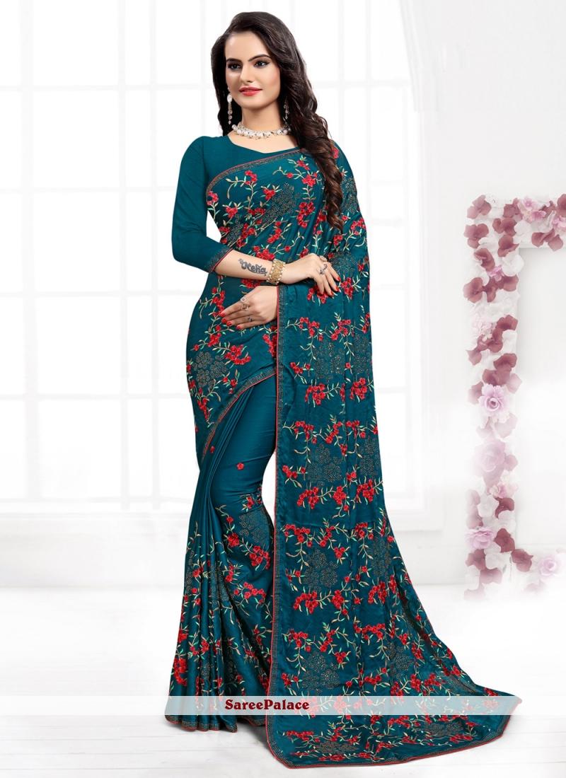 Satin Silk Embroidered Firozi Contemporary Style Saree