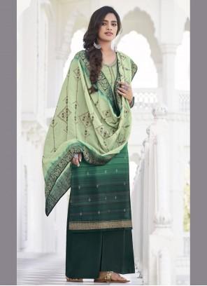 Satin Silk Embroidered Green Designer Palazzo Suit