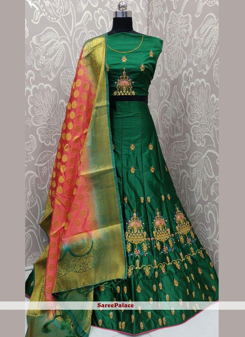 Satin Silk Embroidered Green Lehenga Choli