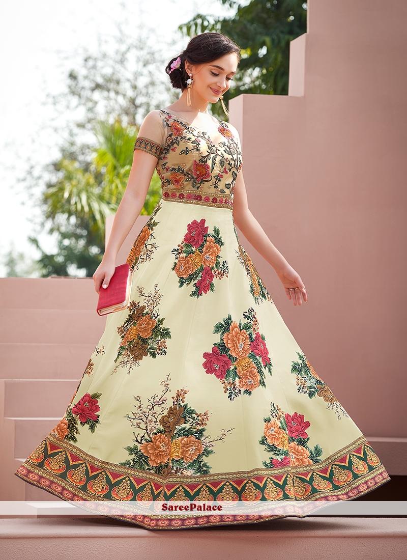 Satin Silk Embroidered Multi Colour Designer Gown