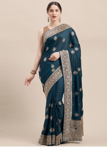 Satin Silk Embroidered Teal Traditional Designer Saree
