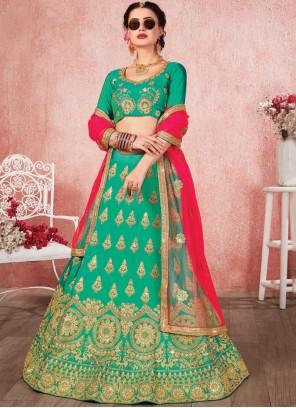 Satin Silk Embroidered Trendy A Line Lehenga Choli