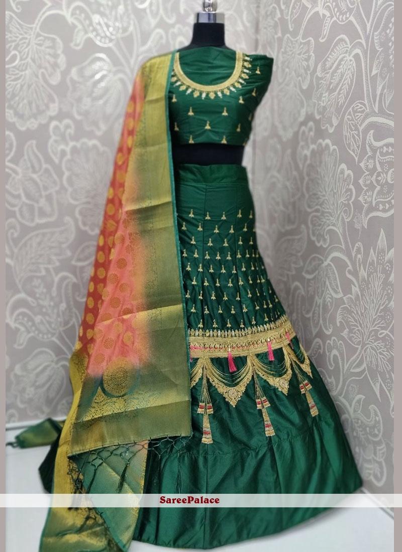 Satin Silk Embroidered Trendy Lehenga Choli in Green