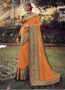 Satin Silk Fancy Orange Traditional Designer Saree