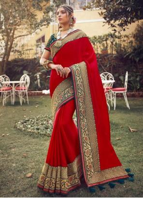 Satin Silk Fancy Red Designer Traditional Saree