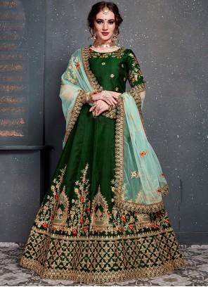 Satin Silk Green Designer Lehenga Choli