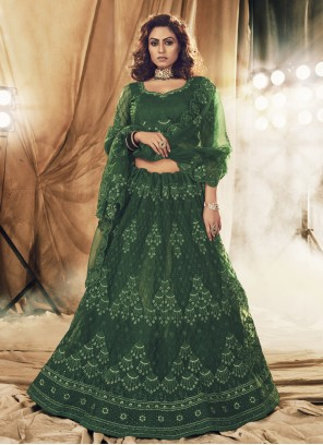 Satin Silk Green Embroidered Lehenga Choli