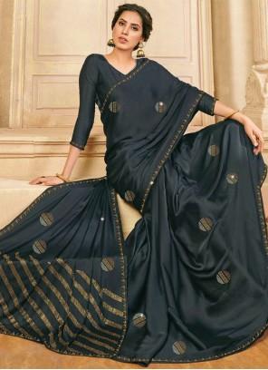 Satin Silk Grey Designer Saree