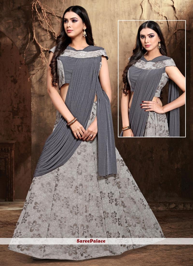 Satin Silk Grey Lehenga Style Saree