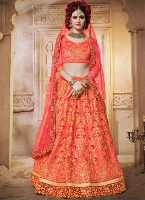 Satin Silk Hot Pink Diamond Designer Lehenga Choli