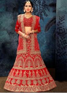 Red Satin Silk Lehenga Choli