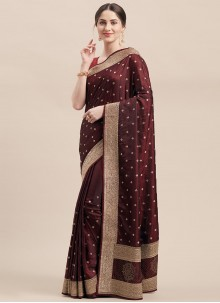 Satin Silk Maroon Designer Traditional Saree