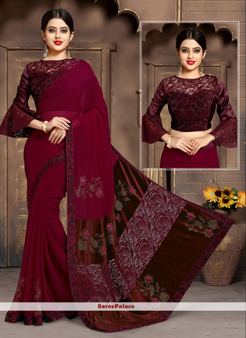 Satin Silk Maroon Weaving Classic Saree