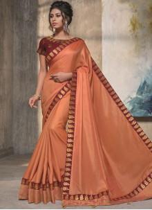 Satin Silk Orange Resham Designer Traditional Saree
