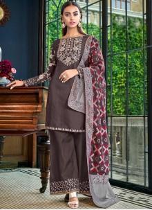 Satin Silk Palazzo Designer Salwar Suit