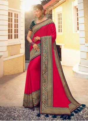 Satin Silk Party Designer Hot Pink Traditional Saree