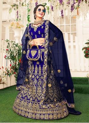 Blue Satin Silk Patch Border Lehenga Choli