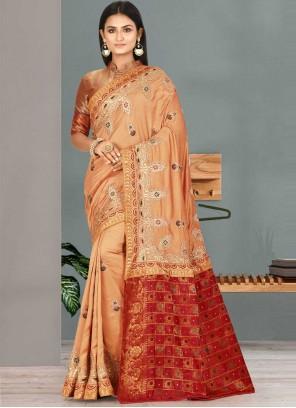 Satin Silk Peach Handwork Traditional Designer Saree